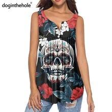 Doginthehole готический принт с черепом и розой женские плиссированные