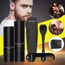 4 Pcs/set Men Beard Growth Kit Hair Growth Enhancer Thicker Oil Beard Wax Balm Moustache Oil Leave-In Conditioner Beard Care(China)