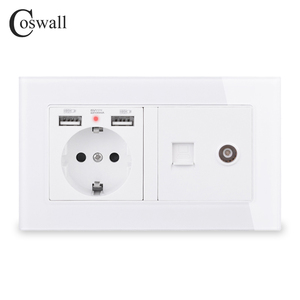 Image 1 - COSWALL Russia Spain EU Standard Wall Socket 2 USB Charge Port + Female TV Connector With CAT5E RJ45 Internet Jack Glass Panel