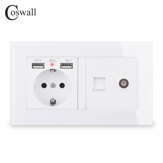COSWALL Russia Spain EU Standard Wall Socket 2 USB Charge Port + Female TV Connector With CAT5E RJ45 Internet Jack Glass Panel