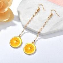 2019 Creative Fruit Drop Earring for Women Oil Orange Kiwi Korean Long Earrings Fashion Jewelry Statement Dangle