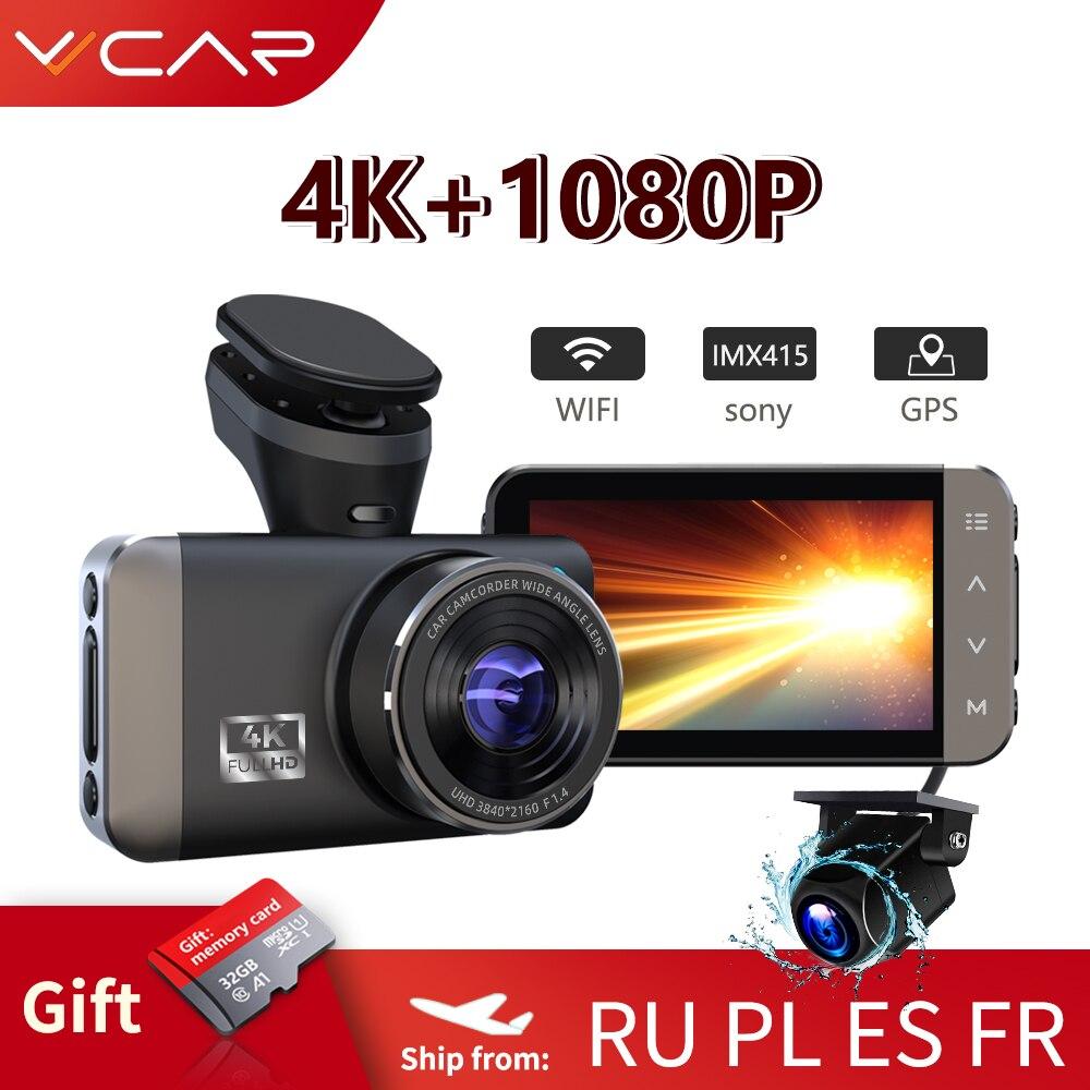 Vvcar d530 câmera do carro dvr 4k + 1080p wifi velocidade n gps dashcam traço cam registrador carro spuer visão noturna presente 32g cartão