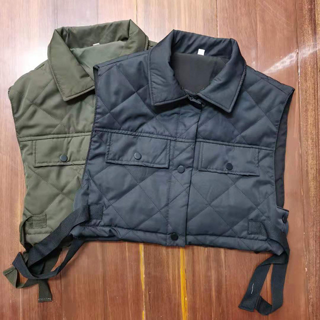 Womens Vest Army Green Lapel Sleeveless Jacket 2021 Fashion Large Pocket Design Waistcoat Streetwear Tops 6