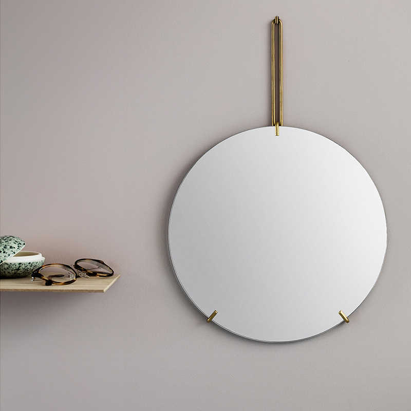 hallway bedroom 30//40//50CM any room Bathroom mirror Modern frameless round wall mirror living room round glass with wrought iron hanging chain design