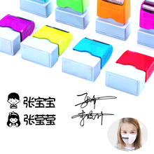 Teacher Name Custom Ink Stamp Signature Calligraphy Selfing-Inking Personalized letter stamp for School Student Child Cloths
