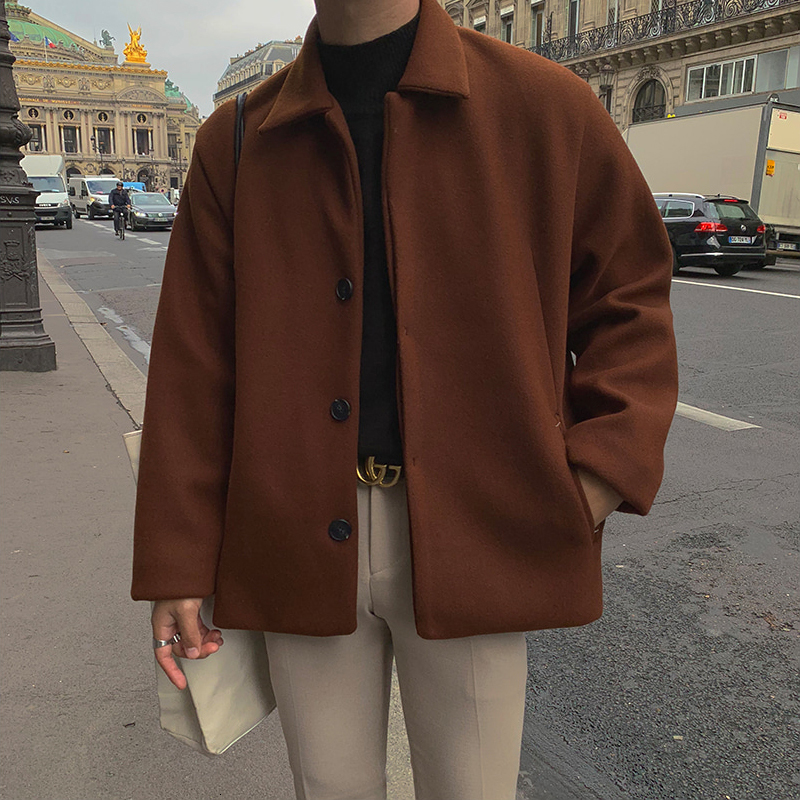 UYUK Autumn And Winter Korean Version Of The Loose Casual Trend Retro Wild Caramel Color Lapel Single-breasted Woolen Coat Mens
