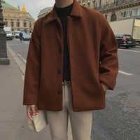 UYUK jesień i zima koreańska wersja luźne Trend na co dzień Retro dzikie karmel kolor klapy pojedyncze, wełniany płaszcz mężczyzna