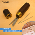 OWDEN 12Pcs Hand Sewing Needles Leather Knitting Pins with 1Pc Storage Container Box Leather Wewing Needles for Hand sewing