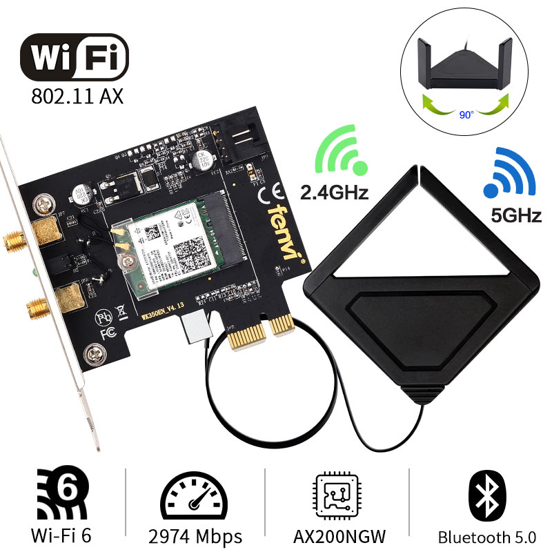 Wi-Fi 6 Gig+ AX200 BT 5.0 WiFi Card AX200NGW 802.11ac Ax 2.4Gbps MU-MIMO OFDMA Miracast PC Wireless Network Adapter Ultra-Fast