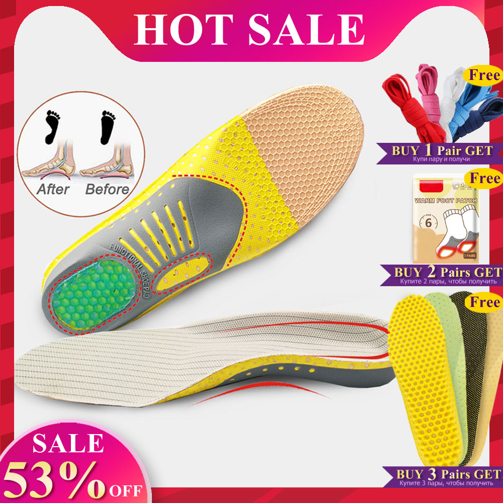 EiD PVC Orthopedic Insoles Sports Insoles Shock Absorption Arch Support Running Shoe Pads Breathable Function Insole Feet Care