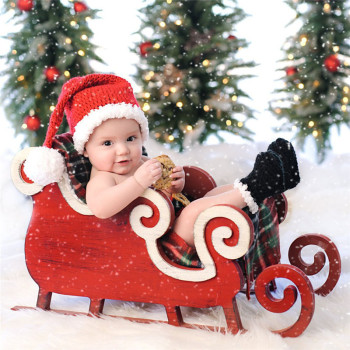 0-4Months Baby Photo Costume Infant Red Wool Christmas Dress Newborn Baby Photography Props Theme Studio Accessories Baby Pic