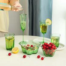 Стеклянные стаканы для воды бокалы вина цвета зеленого яблока