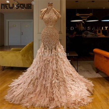 Beading Shiny Feathers Evening Dresses Custom Made 2019 Saudi Arabic Robe De Soiree Longue Prom Dress Crystal Islamic Party Gown