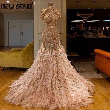 Perlen Shiny Federn Abendkleider Nach Maß 2019 Saudi Arabisch Robe De Soiree Longue Prom Kleid Kristall Islamischen Party Kleid