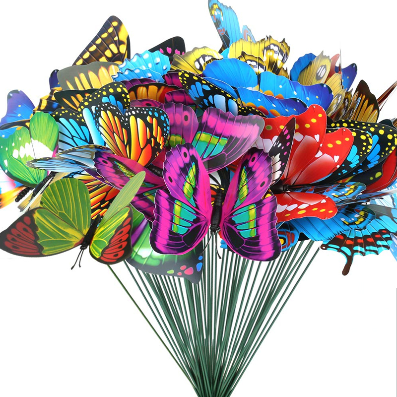 15 Pcs Multicolor Simulation Butterfly Decorative Garden Pile – Outdoor Garden Decoration Flowerpot Flowerpot Party Supplies YAR