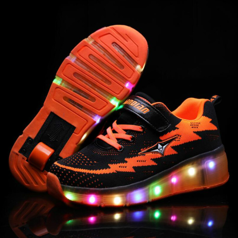 RISRICH Kids LED Shoes With Usb For Boys Girls Usb Charging Light Up Luminous Sneakers With On Wheels Kids Rollers Skate Shoes