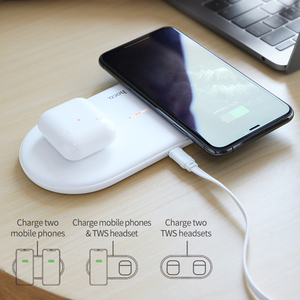 Image 2 - HOCO cargador inalámbrico Dual 2 en 1 para Airpods Pro, cargador de inducción, para iPhone X, XR, XS, 11 Pro, Max, Samsung S10, Xiaomi, QI