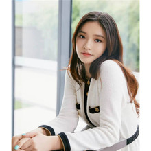 2019 Autumn Star Style Rice White Small Fragrance Short Jacket Single Breasted Full O-Neck Coats and Jackets Women