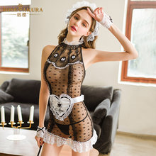 erotic cosplay Vintage court style maid suit Lace-trimmed floral polka dots perspective sexy maid erotic lingerie miniskirt(China)