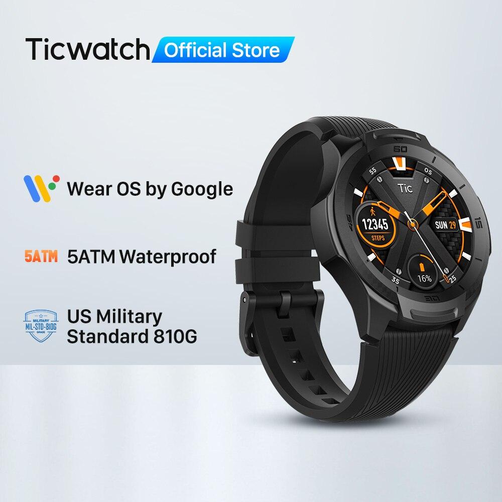 TicWatch S2 ללבוש OS על ידי Google Smartwatch Bluetooth GPS ספורט שעונים לגברים 5ATM עמיד למים עבור IOS ואנדרואיד ארוך סוללה חיים