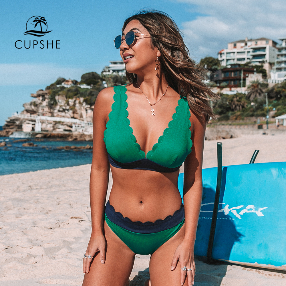 CUPSHE Green and Navy Scalloped Bikini Sets Sexy V-neck Swimsuit Two Pieces Swimwear Women 2019 Beach Bathing Suits Biquinis