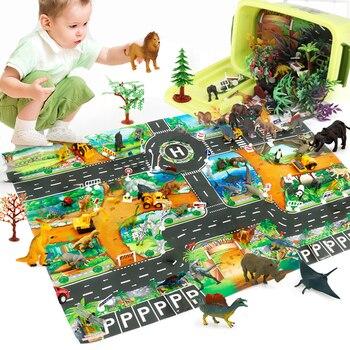 54Pcs/Set 130*100cm  Dinosaur Play Set Children's Transport Traffic Animal Mat Educational Toy