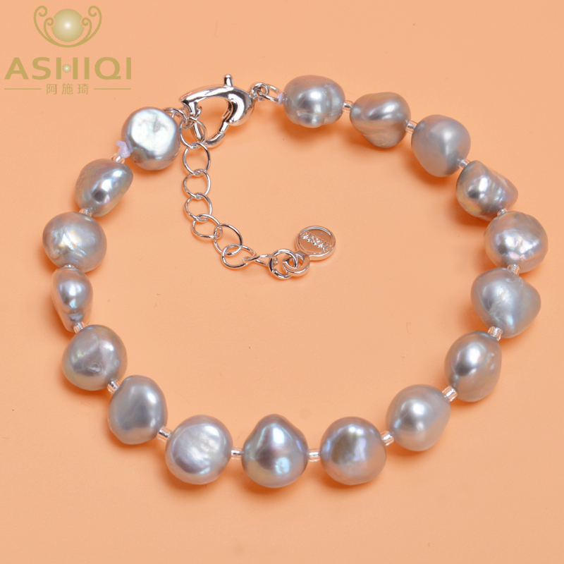ASHIQI Genuine Natural Freshwater Baroque Pearl Bracelets Bangles For Women Black Gray Charm Jewelry