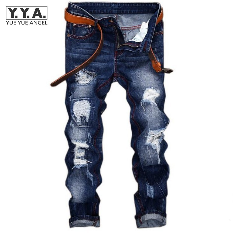 Personality Punk Mens Jeans Trousers Hole Ripped Denim Pants Back 2020 Fashion Embroidery Cowboy Retro Pantalones Free Shipping