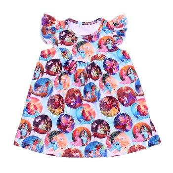 Niños Tops camisa de pelo largo princesa camisa de dibujos animados Boutique leche seda aleteo manga niños niñas verano Tops de princesa camisa