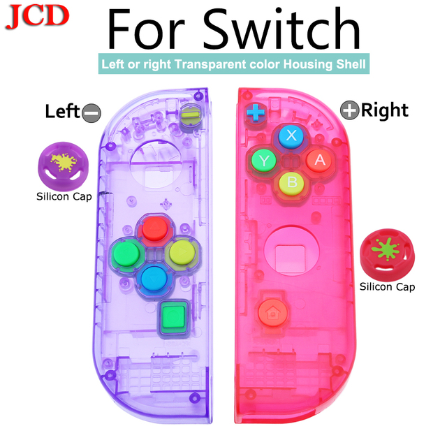 JCD New Housing Shell DIY Transparent Red Blue Replace Cases Customized Cover for NS Nintend for Switch Controller for Joy Con