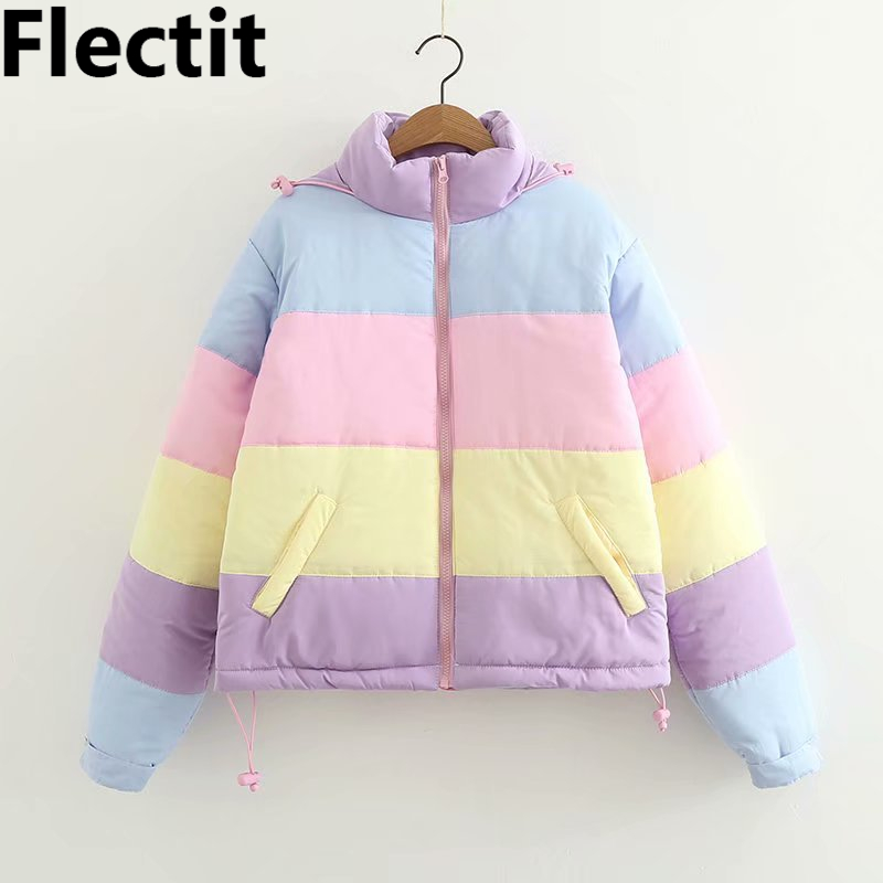 Flectit Lazy Pastel Puffer Jacket With Hood Warm Padded Coat Women Winter Rainbow Bomber Jacket Harajuku *
