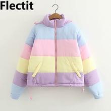 Flectit Lazy Pastel Puffer Jacket With Hood Warm Padded Coat Women Winter Rainbow Bomber Jacket Harajuku * color block detachable hood puffer jacket