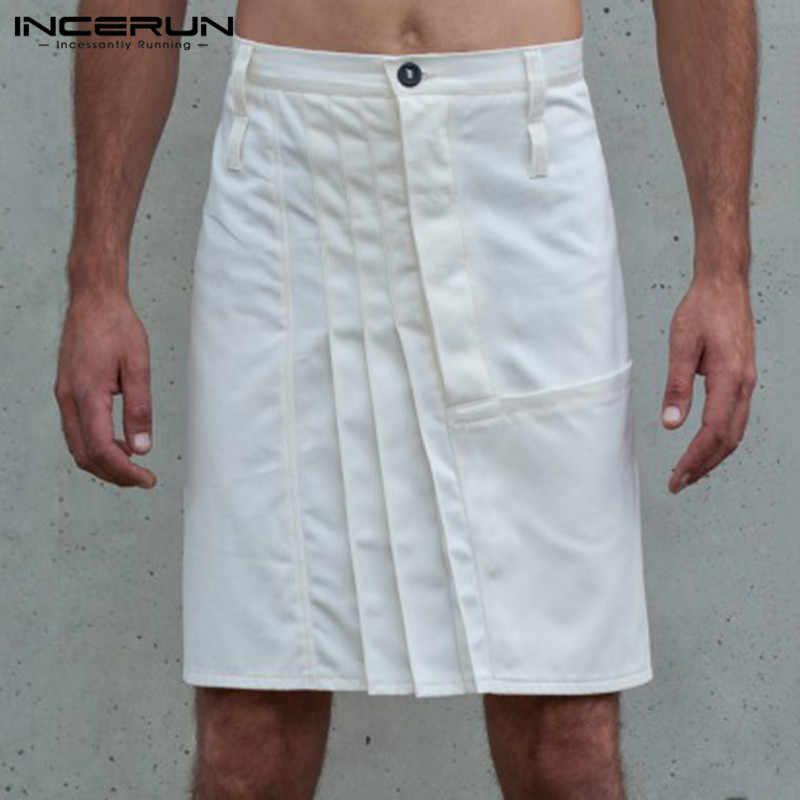 INCERUN Mode Männer Röcke Hosen Casual Kilt Taste Einfarbig Vintage 2020 Plissee Röcke Hosen Männer Hosen Männer Plus Größe 5XL