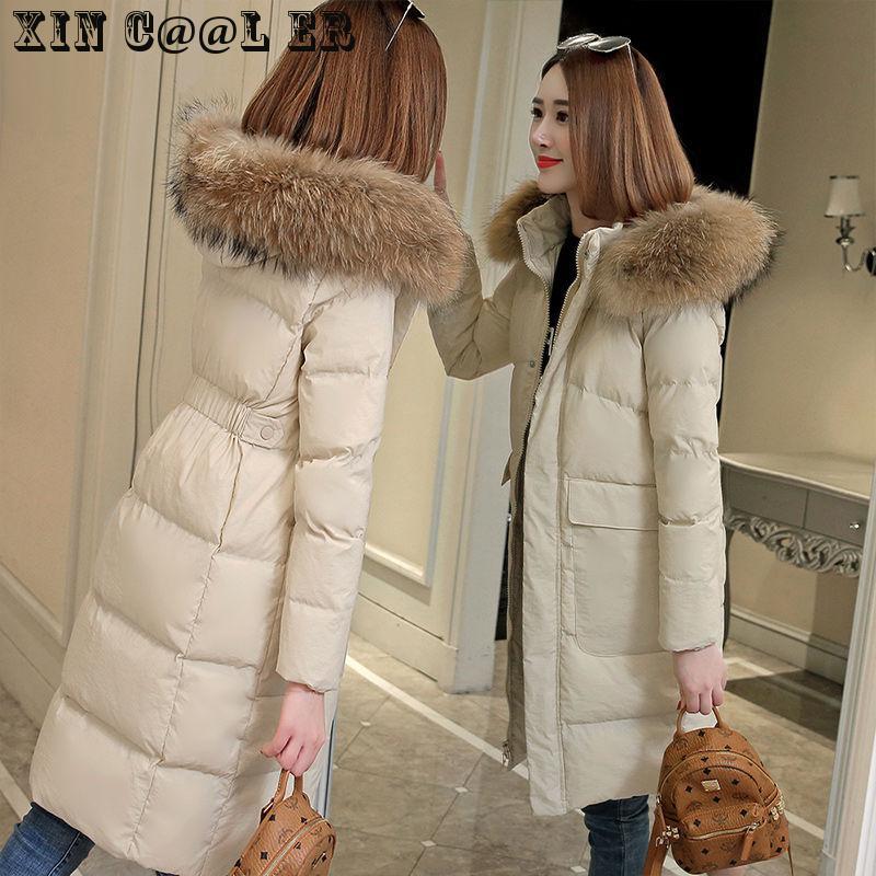 Beautiful High Quality New Thickening Received Korean Edition Slim Warm Cotton Garment Women Medium Long Coat Women Red Black