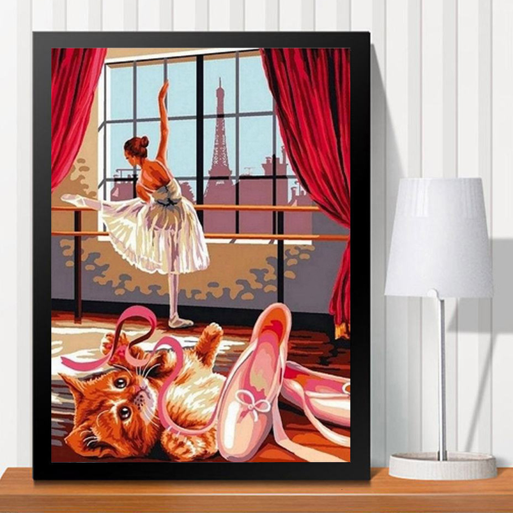 HUACAN Painting By Numbers Girl DIY Coloring HandPainted Kits Drawing Canvas Ballet Dancer Pictures Figure Home Decor