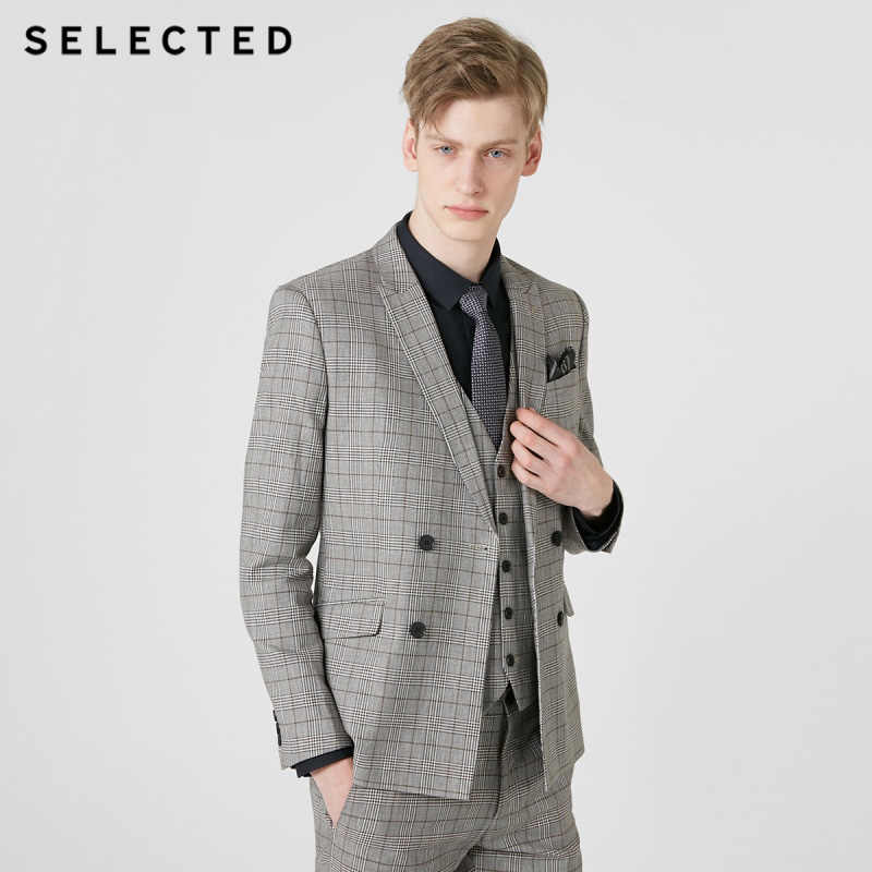 Geselecteerd Mannen Katoen-Mix Plaid Double-Breasted Blazer Jas S   419272513