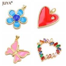 JUYA новые модные стильные милые эмалированные Цветы/Крест/бабочка/подвеска в форме сердца трендовые Подвески для изготовления ювелирных изделий