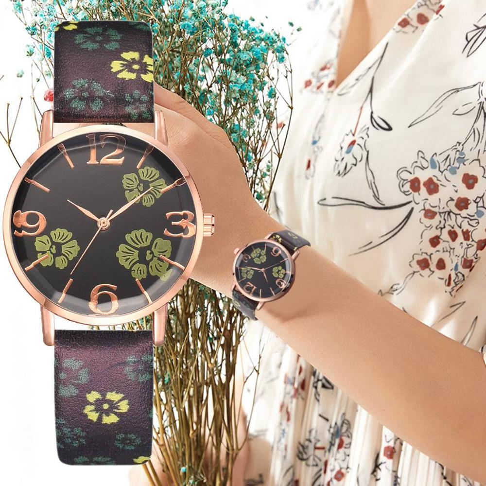 New Fashion Branded Watch Women Watches Quartz Printed Flower Clock Leather Strap Watch For Women Gift Relogio Feminino #C