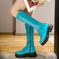 Candy Colors Sexy Slim Patent Leather Boots Women Autumn Winter Knee High Boots Ladies Fashion Thick Heel Round Toe Long Boots