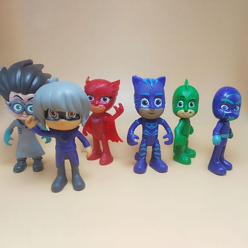 6PCS Pj Masks Cartoon Anime Character Pj Catboy Owlette Gekko Masks Action Figures Kids Toys For Children Birthday Gifts P02