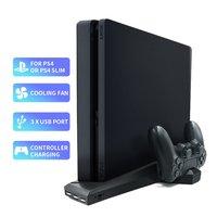 Для PS4/PS4 Slim/PS4 Pro вертикальная подставка с охлаждающим вентилятором двойной контроллер зарядное устройство зарядная станция для SONY Playstation 4 к...