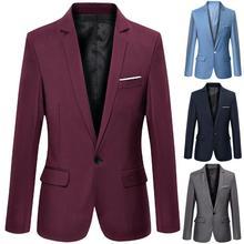Мужские деловые блейзеры весна-осень Формальное Мужское пальто мужской модный однотонный блейзер с длинным рукавом с отворотом S-lim и подходит к костюму