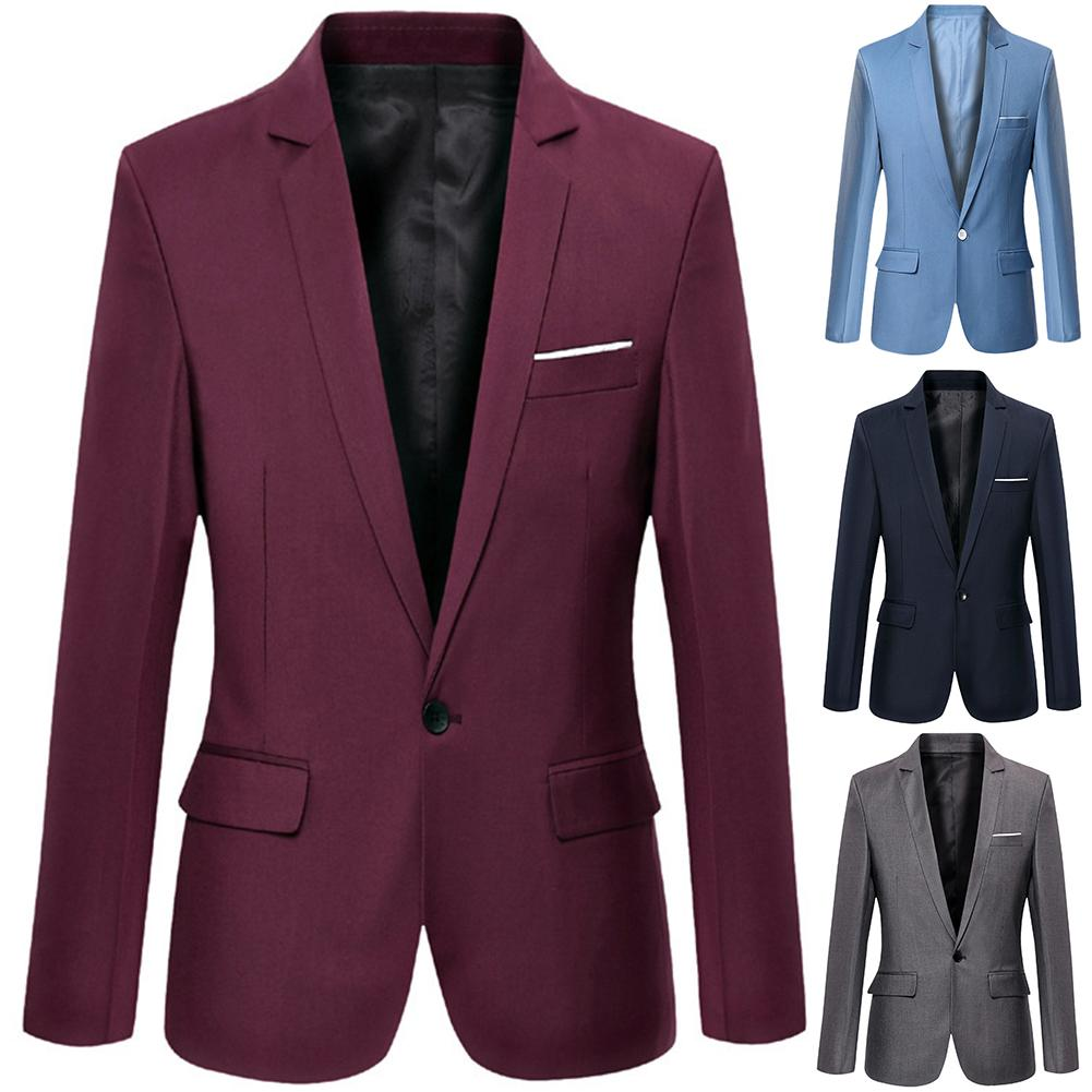 Men Business Blazers Spring Autumn Formal Men's Coat Male Fashion Solid Color Blazer Long Sleeve Lapel S-lim And Fits Suit