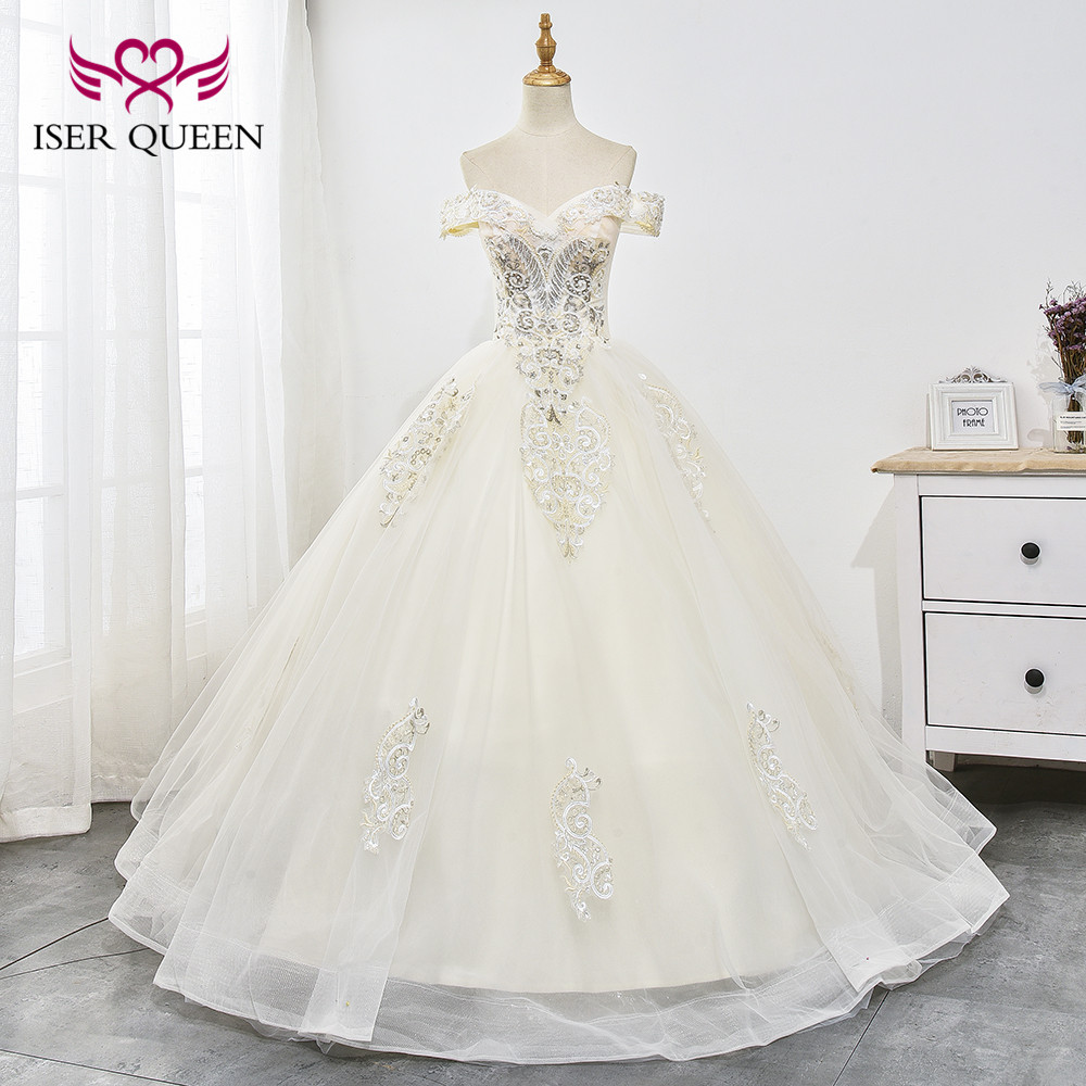 Cap Sleeves Delicate Embroidery Decorate with Sequined and Beading Ball Gown Wedding Dress Champagne Vestido De Novia WX0026