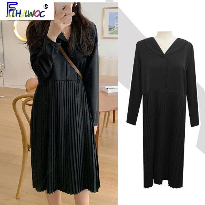 Pleated Black Dresses Hot Sales Women Fashion 2020 Flhjlwoc Design Korean Temperament Lady Button Shirt Dress Long 4104