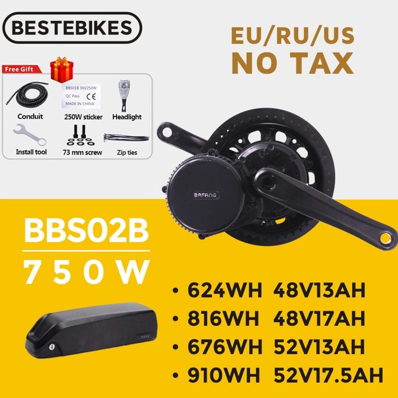 Bafang двигатель BBS02B BBS02 48V 750W мотор среднего привода 8fun Электрический велосипед комплект для преобразования двигателя 52V17.5Ah 20Ah литиевая батар...