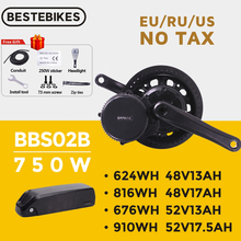 Bafang Motor BBS02B BBS02 48V 750W Mid Drive Motor 8fun Electric Bike Conversion Kit 52V17.5Ah Samsung Cells Lithium Battery Kit
