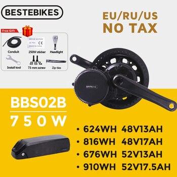 Bafang bbs02b bbs02 48v 750w mid drive motor 8fun bicicleta elétrica kit de conversão 52v17.5ah samsung células bateria de lítio kit