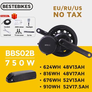Silnikiem Bafang BBS02B BBS02 48V 750W silnik typu middrive 8fun rower elektryczny silnika zestaw do konwersji 52V17 5Ah 20Ah bateria litowa zestawy tanie i dobre opinie CN (pochodzenie) Bezszczotkowy 48 v 400 w Silnik zawieszony z boku Bafang BBS02B BBS02 48V 750W latest version with gear sensor