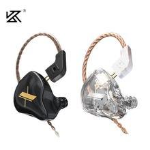Kz edx 1dd em fones de ouvido alta fidelidade graves fones monitor esporte com cancelamento ruído fone kz es4 zst x ed9 ed12 stm m10 zs3